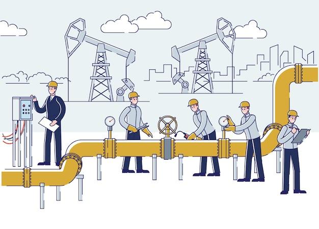 Pessoas trabalham em instalações de petróleo e plataforma