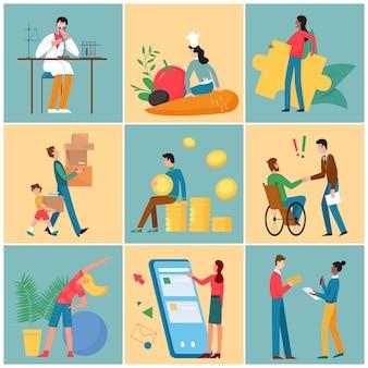 Pessoas trabalham, falam, estudam, comunicam, atividades esportivas, minúsculo, cientista, trabalhando, família, mudam