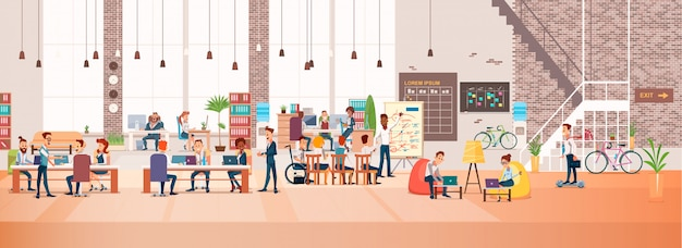 Pessoas trabalham no escritório. espaço de trabalho de coworking. vetor