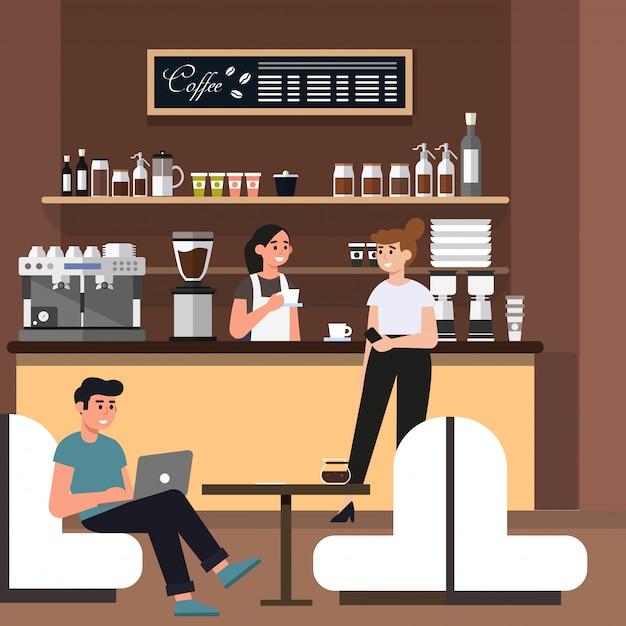 Pessoas trabalhando e relaxando na loja de café