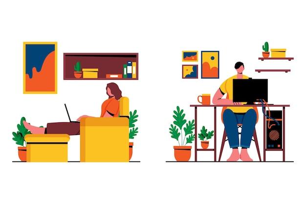 Pessoas trabalhando em cenas caseiras