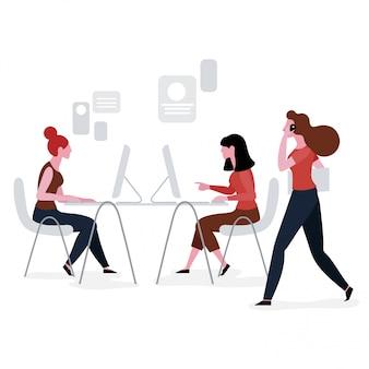 Pessoas, trabalhando, em, espaço trabalho