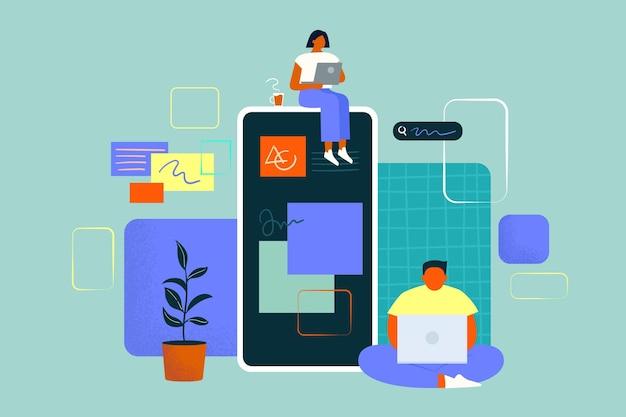Pessoas trabalhando juntas em um aplicativo