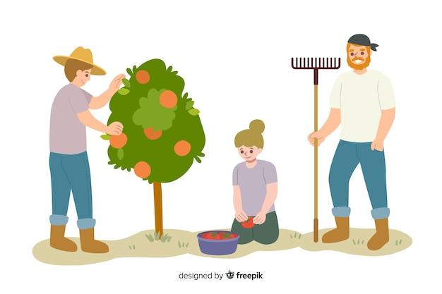Pessoas trabalhando juntas na agricultura