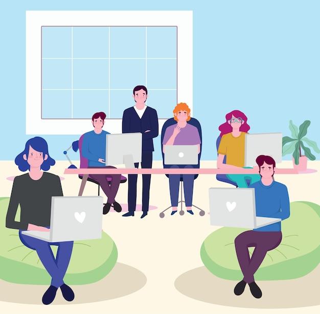 Pessoas trabalhando na mesa de trabalho de reunião de negócios com ilustração de laptop