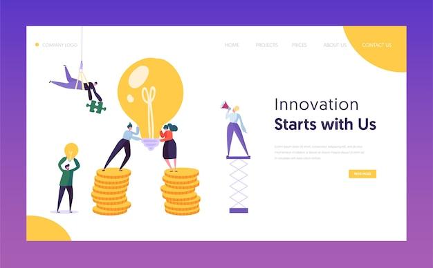 Pessoas trabalhando na página inicial do novo conceito de projeto. ideia criativa para inicialização com lâmpada. site ou página da web de crescimento de dinheiro de nova ideia de negócios financeiros. ilustração em vetor plana dos desenhos animados