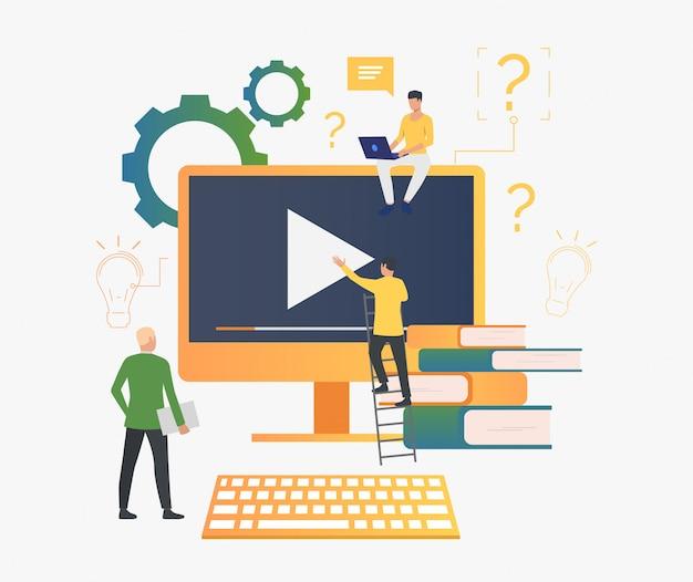 Pessoas, trabalhando, vídeo