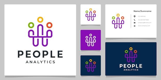 Pessoas trabalho em equipe juntos linha contínua design de logotipo com cartão de visita