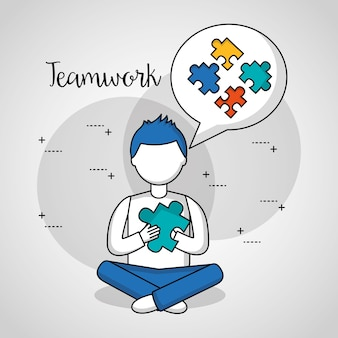 Pessoas, trabalho em equipe, menino, pensando, enigma, pedaços