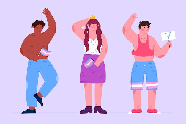 Pessoas transexuais planas ilustradas