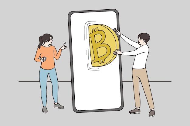 Pessoas transferem bitcoin de câmbio em aplicativo de celular