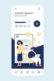 Pessoas transferindo dinheiro via aplicativo de smartphone.