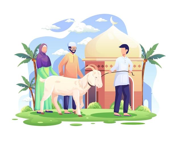 Pessoas trazem uma cabra para o qurban ou sacrifício na ilustração de eid al adha mubarak