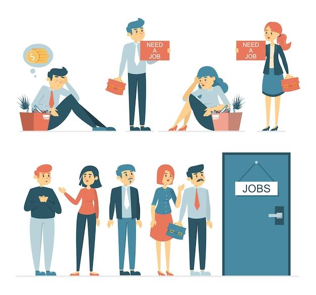 Pessoas tristes desempregadas com caixas