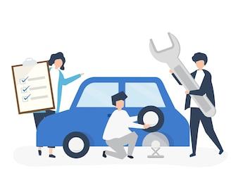 Pessoas trocando um pneu de carro