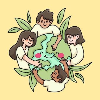 Pessoas unidas do mundo paz e amor ilustração de caridade