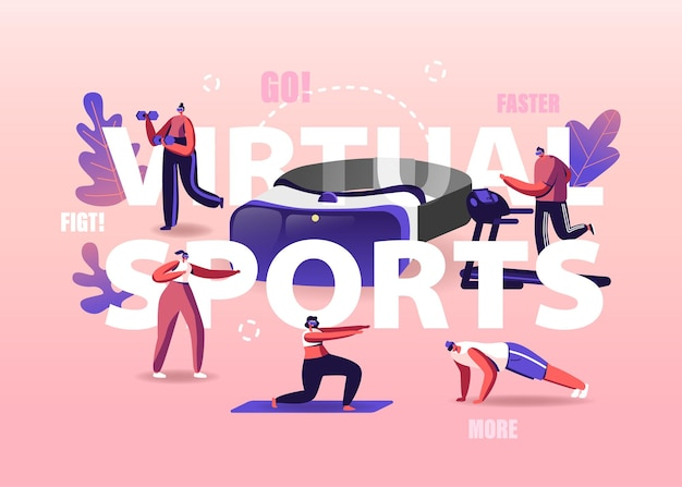 Pessoas usam o conceito de realidade virtual. personagens minúsculos usando óculos de rv fazendo exercícios na esteira