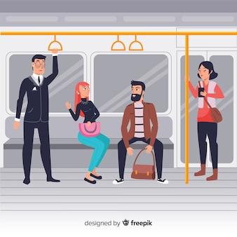 Pessoas, usando, a, metrô, fundo