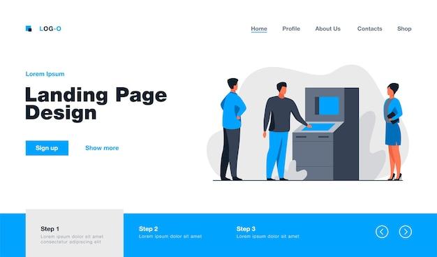 Pessoas usando a página de destino do caixa eletrônico em estilo simples