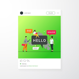 Pessoas usando aplicativo de tradução online, traduzindo palavras de línguas estrangeiras com serviço móvel