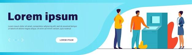 Pessoas usando atm. clientes do banco esperando na fila, ilustração vetorial plana de distância social