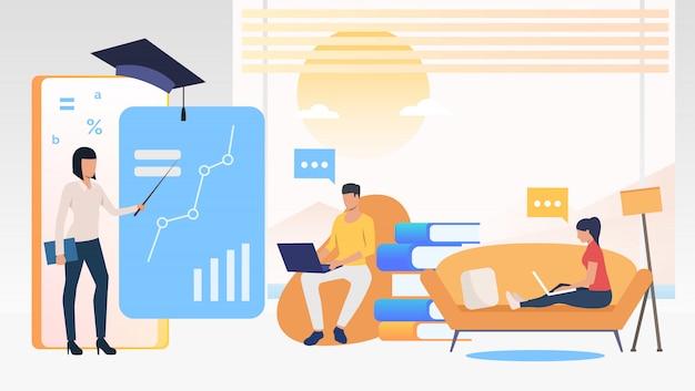 Pessoas usando computadores e estudando na escola on-line em casa