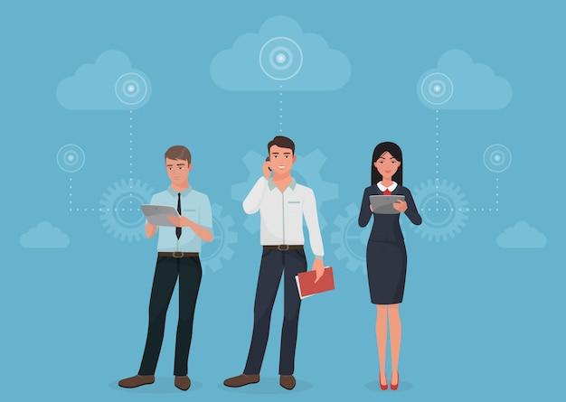 Pessoas, usando, comunicações, em, nuvens