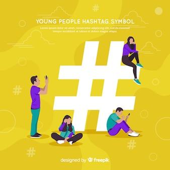 Pessoas, usando, hashtag, símbolo