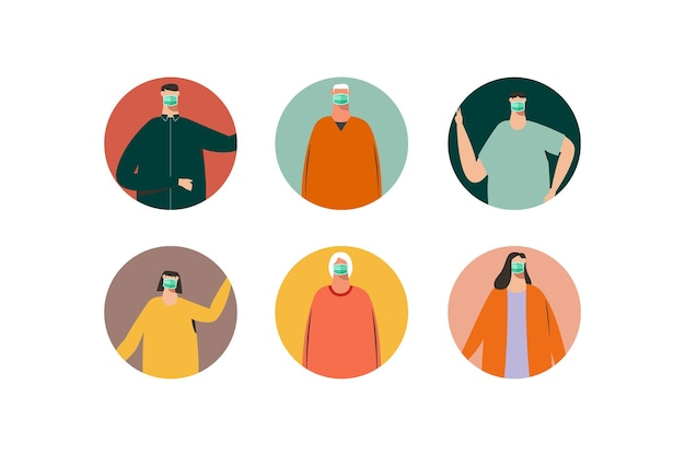Pessoas usando máscara em uma ilustração de avatar de retrato
