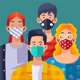 Pessoas usando máscara facial