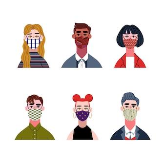 Pessoas usando máscaras de tecido