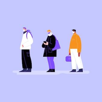 Pessoas usando máscaras ficam na fila em lugares públicos.