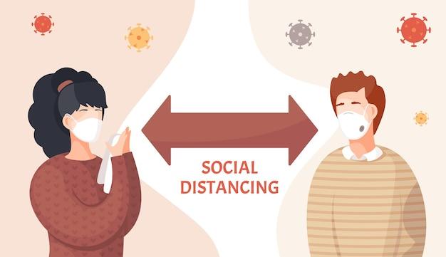 Pessoas usando máscaras médicas faciais e aderem à distância social