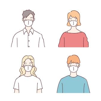 Pessoas usando máscaras médicas. ilustração no estilo desenhado à mão