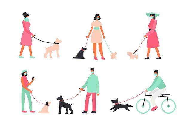 Pessoas usando máscaras, pessoas passeando com cachorros do lado de fora. proteção, vírus, treino com cachorro