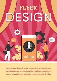 Pessoas usando o aplicativo de assistente de voz em smartphone com alto-falante na tela