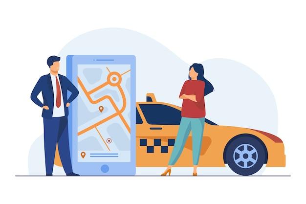 Pessoas usando o aplicativo de localização e pedidos de táxi.