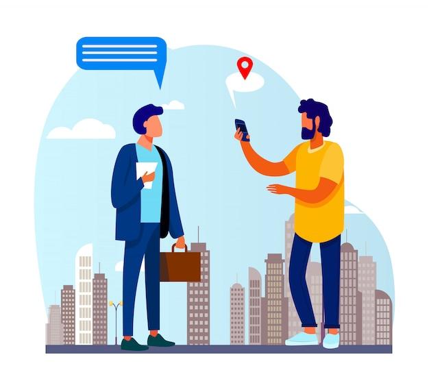 Pessoas usando o aplicativo de localização no telefone