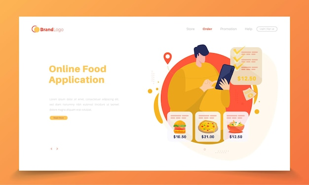 Pessoas usando o aplicativo de pedido de comida na página de destino