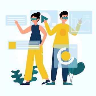 Pessoas usando óculos de realidade aumentada