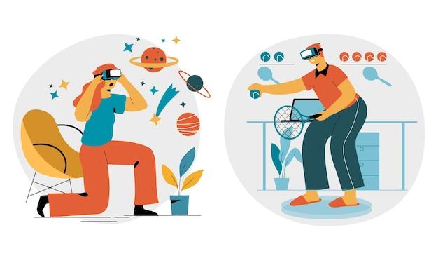 Pessoas usando óculos de realidade virtual