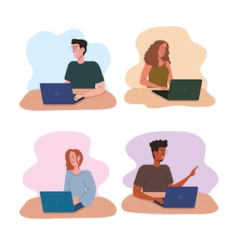 Pessoas usando personagens de avatares de laptops