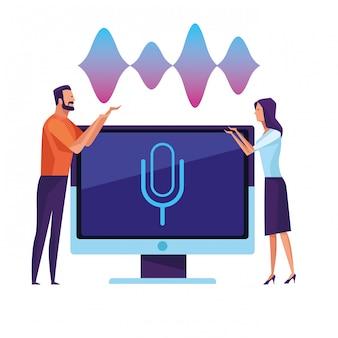 Pessoas usando reconhecimento de voz