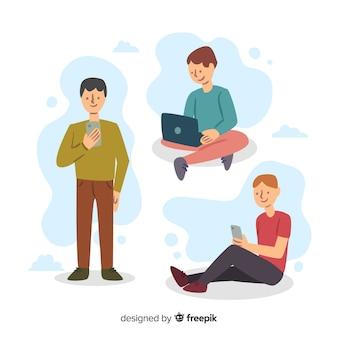 Pessoas, usando, tecnológico, dispositivos, cobrança