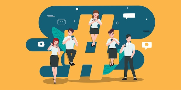 Pessoas usando telefone celular para comunicação viral de rede de mídia social