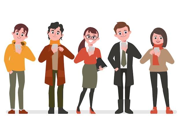Pessoas usando telefone celular para plano de fundo de comunicação de rede de mídia social