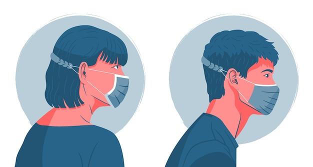 Pessoas usando uma alça de máscara facial ajustável