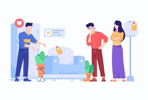 Pessoas vendem e compram móveis e conceito de eletrodomésticos