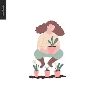 Pessoas verão jardinagem - ilustração em vetor plana conceito de uma jovem de cabelos castanho vestindo blusa amarela, calças e botas, segurando uma planta no pote, conceito de auto-suficiência