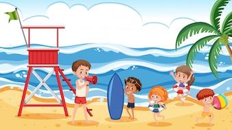 Pessoas, verão, praia